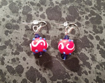 Patriotic Lamp Work Glass Earrings