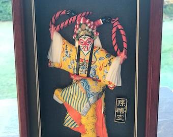 Beijing opera flatback figurine set in a frame