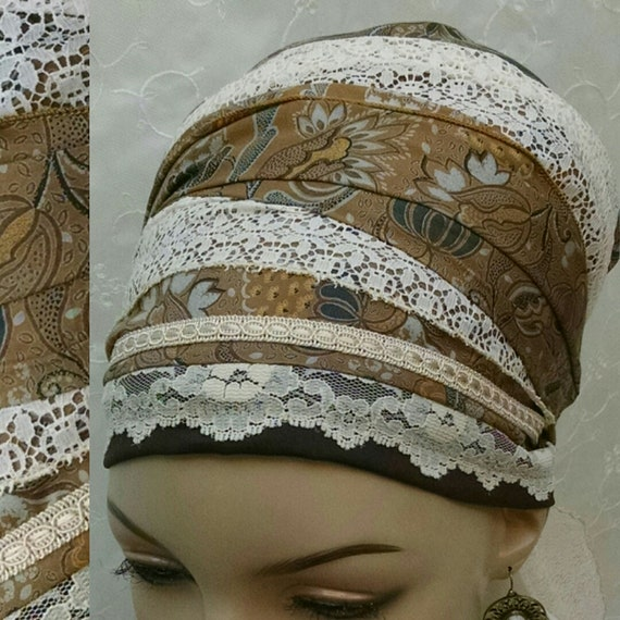 Floral earthy cotton and lace sinar tichel, tichels, head scarf, chemo scarf, apron tichel, Jewish head covering, mitpachat, head wrap
