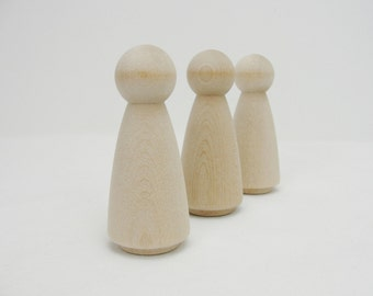 Large Wooden peg lady people unfinished DIY set of 3