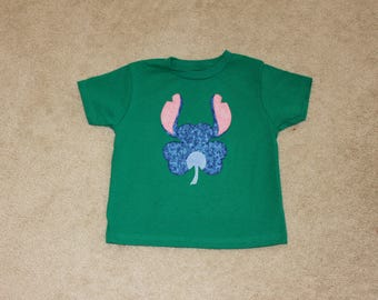 STiTCH ALieN from LiLo and STiTCH SHAMROCK Custom Boutique T SHIRT Tee HoLiDaY St Patrick's Day 3 Leaf Clover