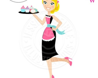 Stylish Sophisticated Baker Character Illustration, Blonde Baker wearing Heels, Woman holding Tray of Cupcakes, Woman Baker wearing Apron