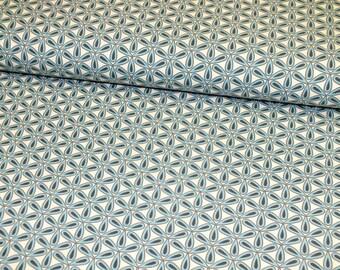 Cotton Jersey Flower Cream Anthracite Retro women fabric 1 meter