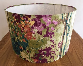 Silver burch trees handmade fabric lampshade, purple, red, blue and green