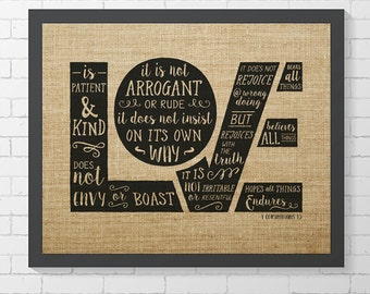 "INSTANT DOWNLOAD - Corinthians 13 Hand Lettered - Faux Burlap - 8"" x 10"" Digital Art Print"
