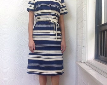 1970s Varying Stripes Shirt Dress