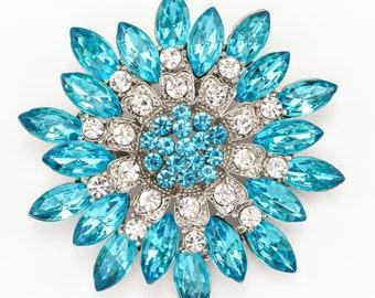 Blue Brooch Aqua Blue Brooch Crystal Blue Brooch Teal Rhinestone Wedding Brooch DIY Supplies Aqua Blue Bridal Brooches