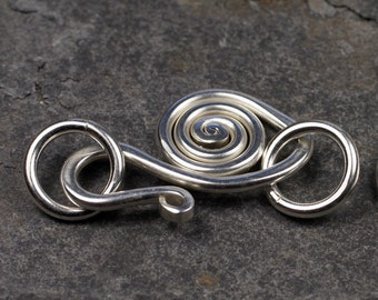 handmade sterling silver swan hook clasp - heavyweight - 2 sets