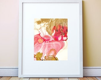 Sunset Éclat Gold, Ruby and Blush Inks: Art Print, Ocean Art, Sunset Watercolor, large art, Abstract Watercolor