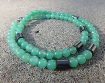 Green Aventurine and Hematite 6mm Beaded Necklace, Jewelry for Him, Her, Urban Chic for men or women