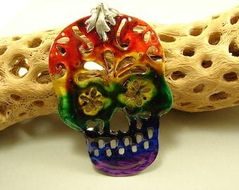 Sugar Skull, Hand Cut and Rainbow Resin Skeleton Skull Pendant Necklace, Sugar Skull Pendant, Skull Pendant