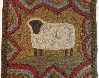 "Rug Hooking PATTERN, Primitive Sheep, 18"" x 18"", J717, Folk Art Sheep Design, Primitive Rug Hooking Pattern"