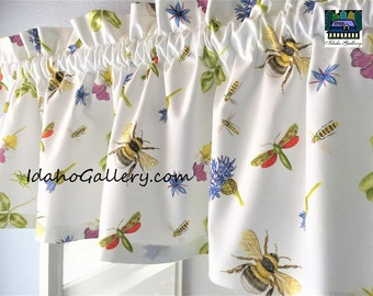 Nature Lovers Bees Bugs Flowers Clover on White Curtain Window Treatment Short Valance Save the Bees Idaho Gallery