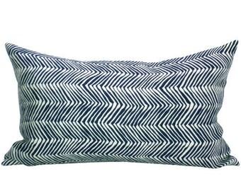 Petite Zig Zag lumbar pillow cover in Navy on Tint