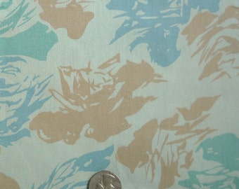 Vintage cotton floral fabric  aqua shades  abstract floral   yardage