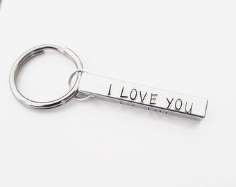 I love you to the moon & back 4 sided handstamped keyring great gift for him/her  birthdays/anniversaries/Christmas/valentines/wedding