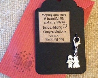 Gift Tag - Bride and Groom Clip on Charm - Wedding Gift