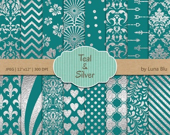 """Teal and Silver Digital Paper: """"Silver Foil Patterns"""" Teal digital paper, Teal and silver scrapbook paper, silver digital paper, metallic"""