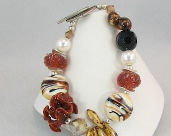 Funky Safari Artisan Lampwork and Pearl Mixed Bead Bracelet  (BR 205)