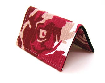 Mini Wallet / Card Holder / Business Card Holder / Card Case / Gift Card Holder/ Small Wallet - Red and Pink Geometric Floral