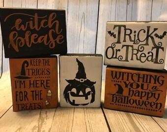 Rustic Halloween Decor - Halloween Wood Blocks - Primitive Halloween - Primitive Fall Decor - Gifts Under 10 - Set Of 5 Gift - Fall Decor