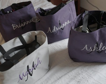 6 Tote Bags Personalized, Bridesmaid tote bag , bridesmaid gifts , beach bag , bachelorette party gift , wedding tote bags, monogrammed tote