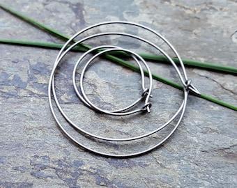titanium hoops-- custom size earrings-- primitive series-- handmade by thebeadedlily