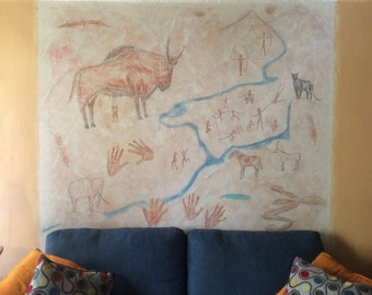 Fine Art Cave Painting Style Mural by Joaquin Torres