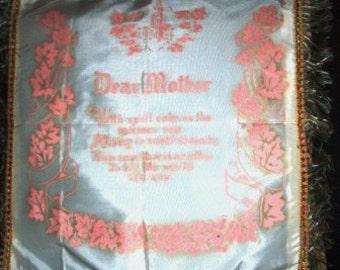 vintage linen ... Retro Kitschy PILLOW cover DEAR MOTHER ...