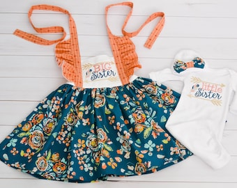 Big Sister Little Sister Outfits - Big Sister Dress - Little Sister Baby Gown - Sibling Outfits - Coordinating Sibling Outfits - Sister Sets