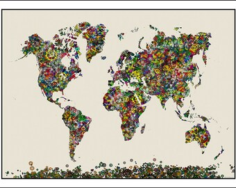GEARS Map of the World, World Map, Map of the World, World Map Poster,