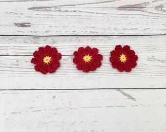 crochet red flowers   crochet embellishment   cotton crochet flowers   daisy appliqué   scrapbooking   appliqué flowers