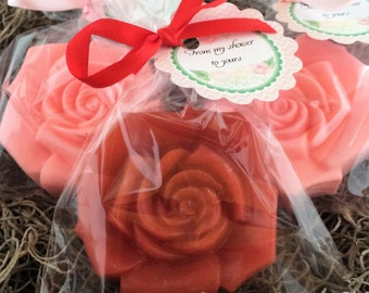 10 ROSE Party Favor Soaps: Wedding Favors, Baby Shower, Birthday favors, Bridal favors, Destination Wedding, Rose Favors, Flower Favors,