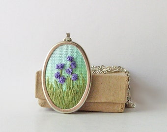 Flower garden necklace, oval pendant jewelry, gardener's gift, purple flower necklace, embroidered pendant