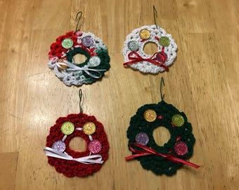 Handmade Crocheted Christmas Wreath Ornaments- Set of 4
