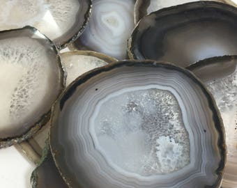 Grey Drink Coasters - Natural Agate Drink Coasters -Natural stone Coasters- Coasters, Stone coasters,coasters-Agate Coasters-Beige, neutral