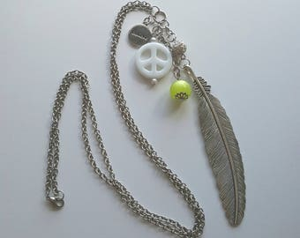 Positivity Feather Statement Necklace (Silver)
