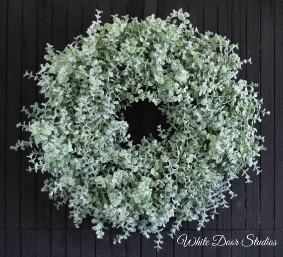 """Ready to Ship 18"""" Farmhouse Boxwood Greenery Wreath for Front Door or Fireplace"""
