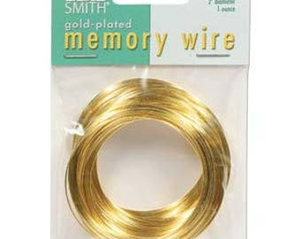 "Beadsmith Gold Plated Memory Wire 2"" Diameter, 1 Ounce"