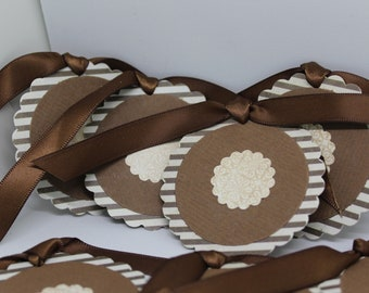 Striped Brown Tags with Satin Ribbon