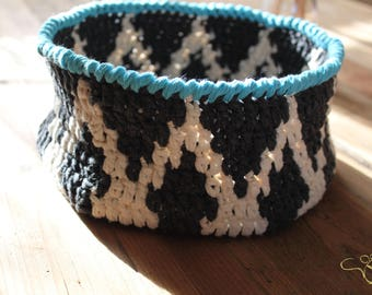 Ikat Crochet Basket, Storage Bowl, Bahtroom organizer, cotton bin, made to order in any colour