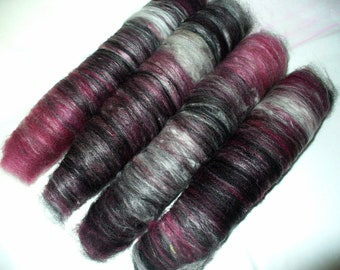 Mini Wool Angora Blend Rolags for Hand Spinning or Felting