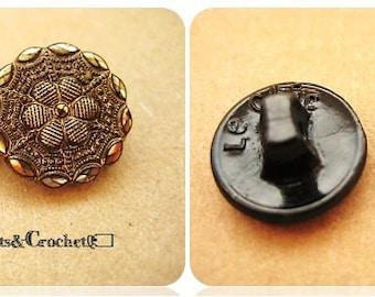 Czech Black Glass & Gold Luster Buttons (2)