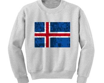Russia World Cup 2018 Graphic Sweatshirt ICELAND Flag Football Team Soccer