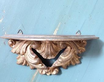 "Vintage Florentine Italian Shelf / wood wall hanging with rail / 9 x 4 x 5"""