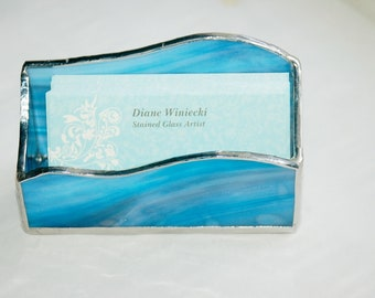 Business Card Holder Shades of Blue Stained Glass Hand Made One of a Kind Ready to Ship Gift Perfect Office Accessory