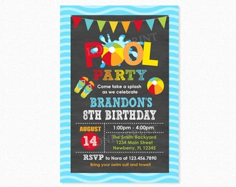 Pool Party Invitation Boy, Pool Party Birthday Invitation, Pool Party Invite, Swim Party Invitation, Personalized, Printable or Printed