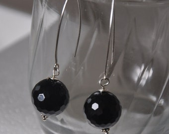 Black Onyx Earrings,  Long Earrings Silver,  Sterling Silver,  Gemstone Jewelry