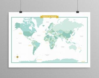 World Map - Teal - a Scandinavian modern design print // 13x19 // mid century modern map // kids room wall art // kids room decor