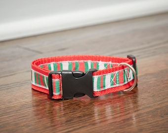 Red Green and White Stripe Dog Collar